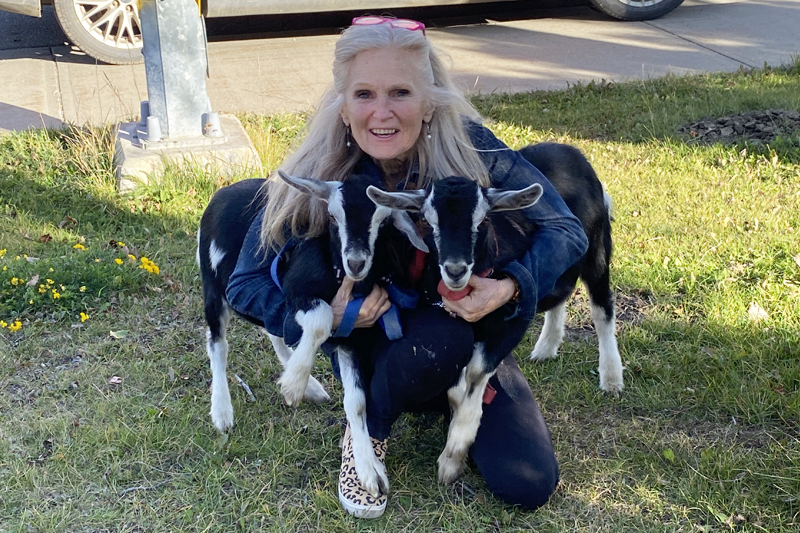 Christine with two young goats